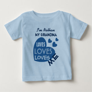 My GRANDMA Loves Me Blue Hearts Custom Text V06 Baby T-Shirt