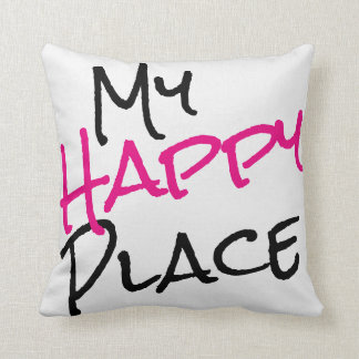 My Happy Place Black White Pink Cushion