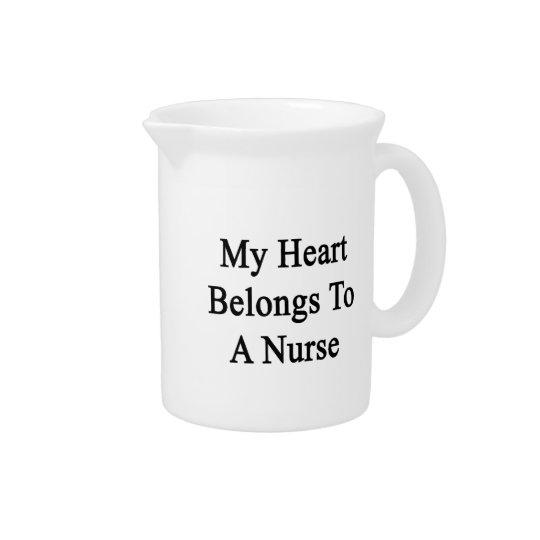 My Heart Belongs To A Nurse Beverage Pitchers