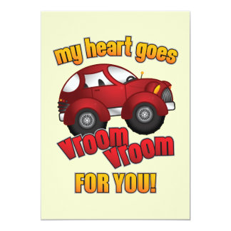 My Heart Goes Vroom Vroom For You! Custom Invitations
