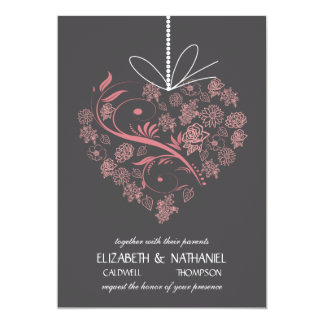 My Heart Tied To You Wedding Invitation - charcoal