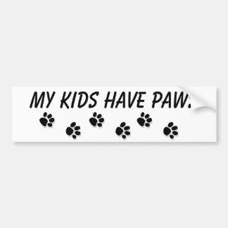 """""""My kids have paws"""" Bumper Sticker"""