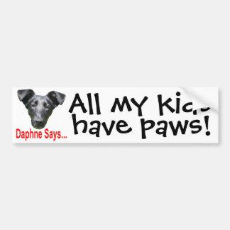 My kids have paws bumper sticker