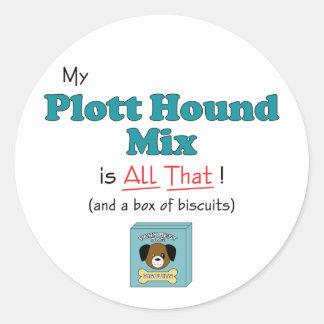 My Plott Hound Mix is All That! Classic Round Sticker