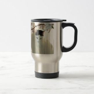 My Pretty White and Black Kitty Cat Stainless Steel Travel Mug