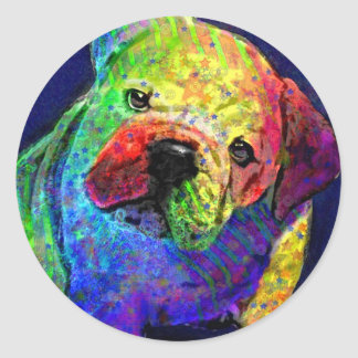 my psychedelic bulldog classic round sticker