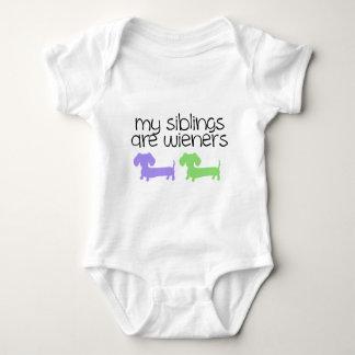 My Siblings are Wieners | 2 Dachshunds design Baby Bodysuit