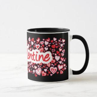 """My Valentine"" hearts red pink black mug"