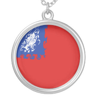 Myanmar Gnarly Flag Round Pendant Necklace