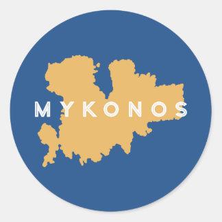 Mykonos Greece Silhouette Classic Round Sticker