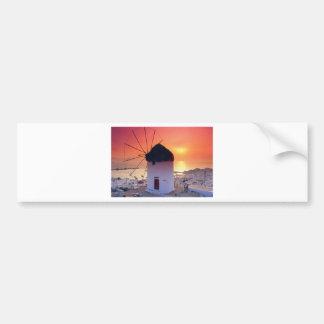 MYKONOS GREECE WINDMILL (St.K) Bumper Sticker