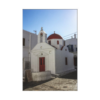 Mykonos Photos: Whitewashed Chapel with Red Roof Canvas Print