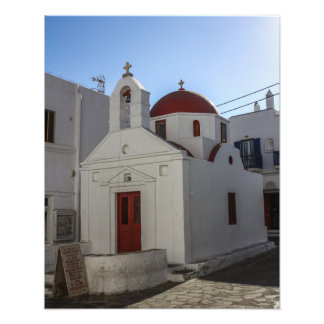 Mykonos Photos: Whitewashed Chapel with Red Roof Photo Print