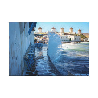 Mykonos Photos: Windmills and a Wall of Water Canvas Print