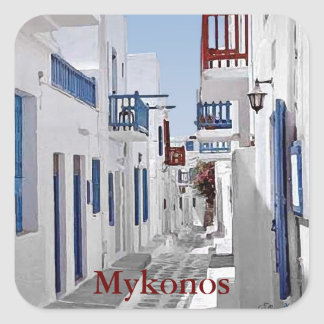 Mykonos Square Sticker