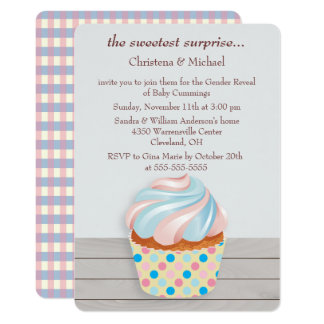 Mystery Cupcake Gender Reveal Invitation