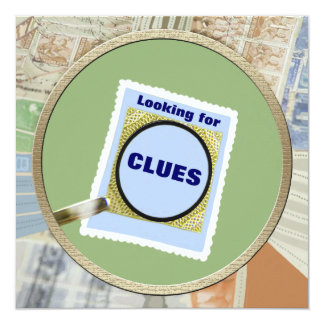 Mystery Magnifying Glass Clues Kids Birthday Party 13 Cm X 13 Cm Square Invitation Card