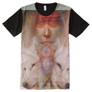 Mystic Native American & Wolves. All-Over Print T-Shirt