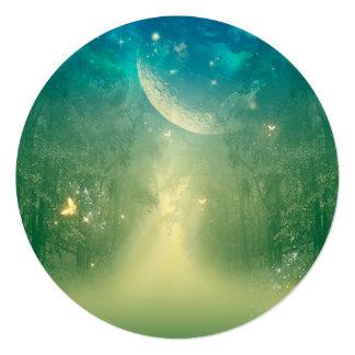 Mystical forest with nebula 13 cm x 13 cm square invitation card