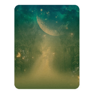Mystical forest with nebula card