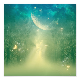 Mystical forest with nebula magnetic invitations