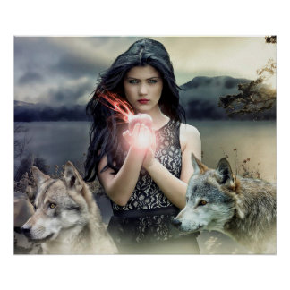 Mystical Girl with Fire Ball and Wolves Poster