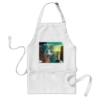 Mystical place with alien ships and buildings standard apron