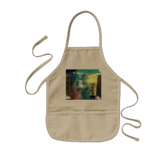 Mystical place with alien ships and buildings kids apron
