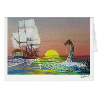 Mystical Sea Dragon & Ship Card by Lang Solurson