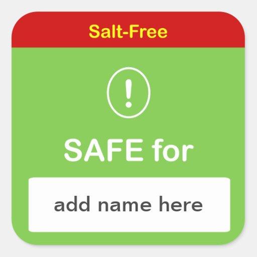 n85 - SAFE FOOD LABEL w/ Custom Name ~ SALT-FREE. Stickers