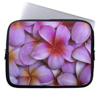 N.A., USA, Maui, Hawaii. Pink Plumeria blossoms. Laptop Sleeve