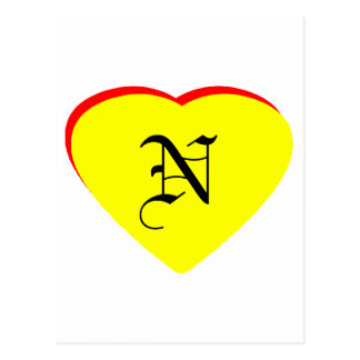 """""""N"""" Heart Yellow Red Wedding Invitation The MUSEUM Post Card"""
