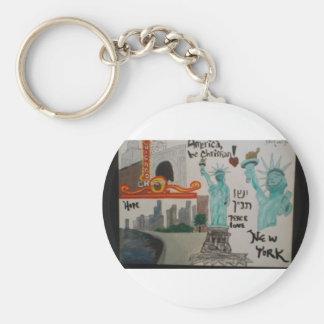 N.Y.Chicago/Keychain/christian art/hebrew Key Ring