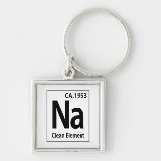 NA Clean Element Periodic Table Silver-Colored Square Key Ring