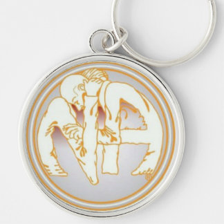 NA Hug Silver-Colored Round Key Ring