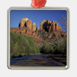 NA, USA, Arizona, Sedona. Cathedral Rock and Oak Silver-Colored Square Decoration