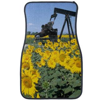 Na, USA, Colorado, Sunflowers, Oil Derrick Car Mat