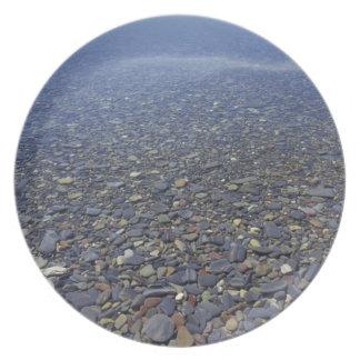 NA, USA, Montana, Glacier NP Rocks in Lake Plate