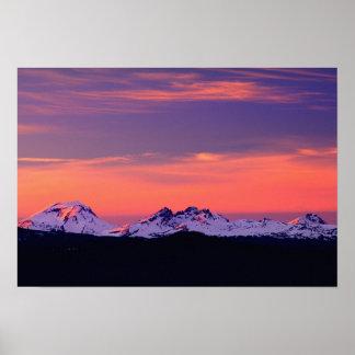 NA, USA, Oregon, The Three Sisters Mountains Poster