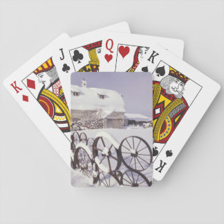 NA, USA, Washington, Uniontown, White barn and Playing Cards