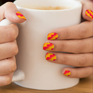 Nail Art Abstract Design Pink Yellow