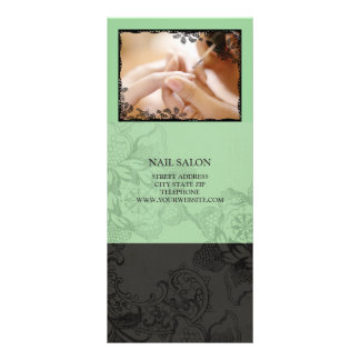 Nail Salon Services Price List {Mint Green} Rack Card