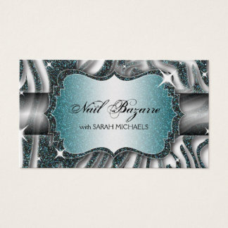 Nail Technician Business Card Zebra Print Glitter