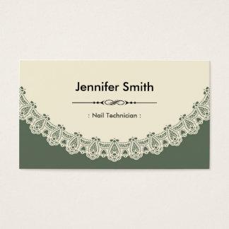 Nail Technician - Retro Chic Lace Business Card