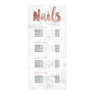 Nails modern gold typography marble price list 8 full colour rack card
