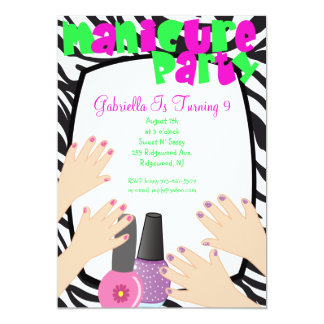 Nails, Nails, Nails Manicure Spa Birthday Party 13 Cm X 18 Cm Invitation Card
