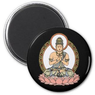 Namaskara Mudra Buddha 6 Cm Round Magnet