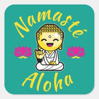 Namaste Aloha hand sign Buddha Humour Square Sticker