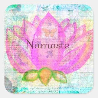 Namaste PINK LOTUS Peaceful Art Square Sticker