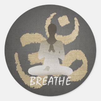 Namaste Yoga Gold Om Sign Breathe Round Sticker